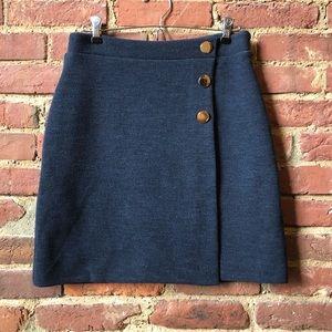 LOFT Navy Blue Skirt w/ Gold Buttons